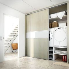 Turn stackable machines sideways to maximize space; add storage on side Laundry Nook, Laundry Closet, Laundry Room Design, Laundry In Bathroom, Laundry Basket, Interior Design Living Room, Living Room Designs, Living Room Decor, Küchen Design
