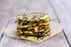 Zucchini + Sweet Potato Fritters these light + healthy fritters are great for breakfast, lunch or dinner