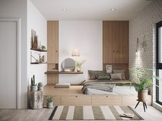 Room Design Bedroom, Bedroom Layouts, Small Room Bedroom, Home Room Design, Home Decor Bedroom, Small House Interior Design, Small Room Design, Minimalist Room, Home And Deco