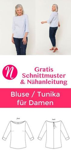 Damen-Bluse und Tunika - gratis PDF-Schnittmuster mit ausführliche Anleitung in XS - XXL. ✂ Nähtalente.de - Magazin für Hobbyschneider ✂ Free Sewing Pattern for a woman blouse or tunic in size XS - XL. Many lovely details and a great sewing tutorial.