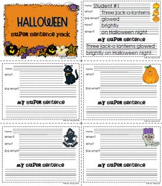 Since I received so many positive comments about the Super Sentences that I posted a couple of weeks ago, I thought I would create a Hallowe...