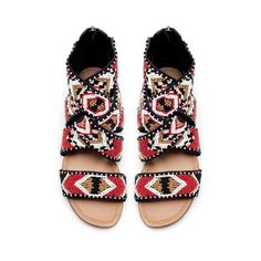 Unexpected pattern and detail in a flat sandal. BEADED FLAT SANDAL from Zara