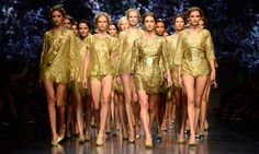Models at Dolce & Gabbana's money-inspired Milan show. Photograph: Olivier Morin/AFP/Getty Images