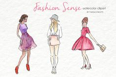 Watercolor Clip Art  Fashion Sense by MariaBPaintsClipArt on Etsy