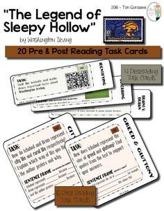"""""""The Legend of Sleepy Hollow"""" Task Cards  20 task cards. Use the legendary ghost story, """"The Legend of Sleepy Hollow,"""" by Washington Irving, to teach your students how to closely analyze literature through the use of task cards. This lesson plan includes 4 pre reading task cards and 16 post reading task cards that require students to analyze character motivation, setting, conflict, plot, and much more."""