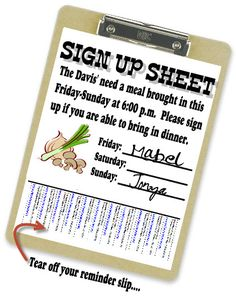 Tear-off sheets help people remember they signed up to help someone.