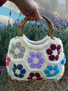 African Flower Hexagon bag with bamboo handles.