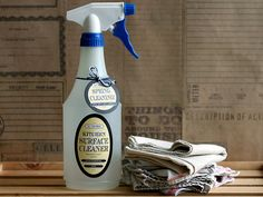 Kitchen Surface Spray: 1 part vinegar  1 part warm water, A few drops of tea tree oil. Pour all of the ingredients into a spray bottle and gently swirl until mixed. Spray on your kitchen surfaces, and wipe clean. Caution: It's best to steer clear of wooden surfaces that are stained or finished when using DIY cleaners made from vinegar.