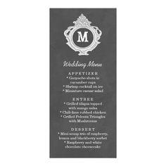 Vintage Elegant Monogram Dark Grey Wedding Menu Custom Rack Card
