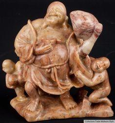 China 20. Jh. - A Chinese Soapstone Figure of Budai Scultura Cinese Chinois