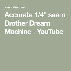 How to ensure an accurate seam using the V foot instead of foot on Brother Dream Machine Brother Dream Machine, Brother Embroidery, Quilt As You Go, Youtube, Sewing, Dressmaking, Couture, Stitching, Sew
