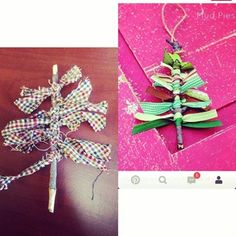 Christmas tree twig ornament craft was hung up as a #pinterestfail