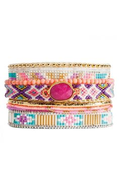 The Hipanema Hortense is a Brazilian-style bracelet to fall in love with. It is made up of strings of beads and a pink stone.  Length of the cuff, including the