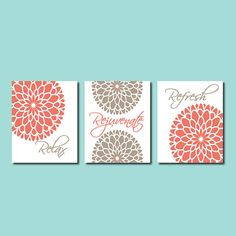 Modern Floral Flower Flourish Artwork Set of 3 Trio Prints Relax Rejuvenate Refresh Coral Sepia Tan Wall Art Decor Bathroom Home Picture on Etsy, $30.00