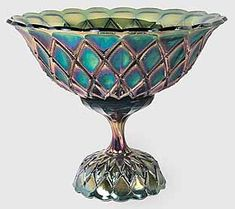 Millersburg carnival glass Diamonds punch bowl and base in green.  Sold in 2010 for $5,500.  Interesting fact is that no punch cups are known to exist.  http://www.morninggloryantiquescollect.com/