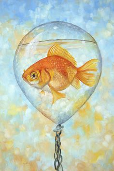 Every time I look at this fish in a floating water balloon, I think to myself, did I really paint that?