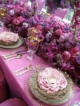 purple inspired wedding table with an explosion of flowers and colors