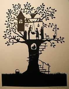 Treehouse family papercut by Stéphanie Miguet