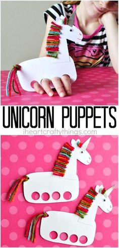 These incredibly cute and playful unicorn puppets make a fun kids craft and evergreen craft for any time of the year. Fun unicorn craft for kids.