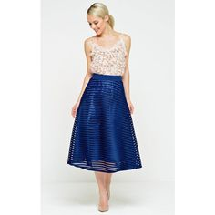 Marc Angelo Talia Mesh Skirt in Navy (149.120 COP) ❤ liked on Polyvore featuring skirts, blue, navy skirts, navy knee length skirt, blue skirt, mesh skirt and navy blue skirts