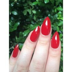 Red nails, fake nails, stiletto nails ($16) ❤ liked on Polyvore featuring beauty products, nail care, nail polish, nails and makeup
