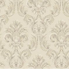 A traditional oversize damask print, this wallcovering features a raised surface to add dimension. The medallion incorporates a design similar to a pineapple, the symbol of welcome.