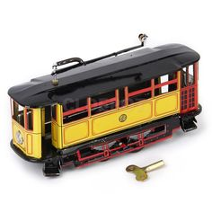 Retro Adult Collectible Tram Trolley Streetcar Metal Tin Toy Wind Up Toys
