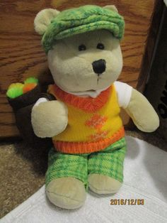 STARBUCKS PLUSH TEDDY BEAR GOLF BEAR 2008 #STARBUCKS