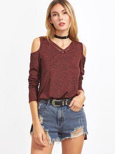Burgundy Marled Crisscross V Neck Open Shoulder High Low T-shirt Denim Fashion, Teen Fashion, Asian Fashion, Fashion Outfits, Shirts For Teens, Outfits For Teens, T Shirts For Women, Clothes For Women, Basic Outfits