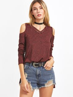 1c90e1fbdb Crisscross Open Shoulder Space Dye T-shirt -SheIn(Sheinside)   Just My  Style   Pinterest   Shirts, T shirt and Sweaters