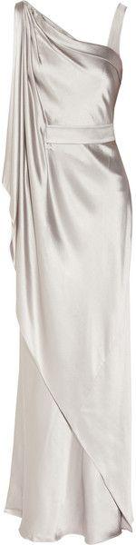 Amanda Wakeley Asymmetric Satin Gown in Silver (steel) - Lyst