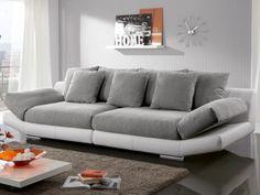 Canapé XXL 4 places en tissu et simili INSTINCT - Bicolore noir et gris