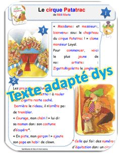 Le cirque Patatrac - texte adapté pour dys Core French, French Expressions, Comprehension, Classroom, Album, School, Montessori, French Immersion, Reading Comprehension