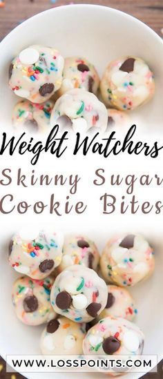 If there's one thing that we all know and love, it's raw cookie dough. I'm in love with these Skinny Sugar Cookie Bites; little edible bite Weight Watcher Cookies, Weight Watchers Smart Points, Weight Watcher Dinners, Weight Watchers Desserts, Ww Desserts, Healthy Desserts, Healthy Recipes, Skinny Recipes, Ww Recipes