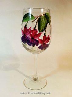 Fuchsia Hand Painted Wine Glass by LemonTreeWorkshop on Etsy
