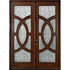 Modern Front Door - Custom - Double - Solid Wood with Dark Mahogany Finish, Modern, Model DD CST Wooden Glass Door, Entry Doors With Glass, Wood Entry Doors, Wooden Door Design, Main Door Design, Glass Panel Door, Rustic Doors, Glass Doors, Front Doors