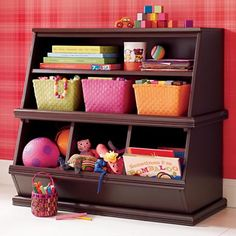 i think dad and brandon could figure out how to make these for me :) - Kids' Storage Bins: Kids Espresso Storage Unit in Toy Boxes