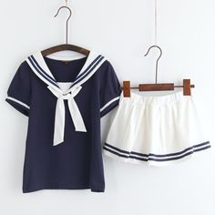 Japanese students cute sailor T-shirt + skirt two-piece