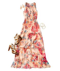 Boho to the maxi: Tiers of silk bloom with a garden's worth of flowers. Pair a flowing dress with comfortable height-boosting stacked heels or (if you're tall enough to pull off flats) sandals. Keep jewelry delicate to balance large-scale florals.