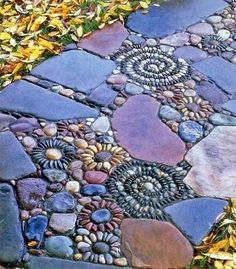 diy pebble mosaic pathway - http://everythingorganized.org/diy-pebble-mosaic-pathways/