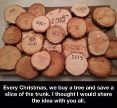 If you get a real tree cut off a little piece of the trunk crave the year and hang it up for the cutest Christmas decoration! Christmas Time Is Here, Noel Christmas, Winter Christmas, All Things Christmas, Christmas Ideas, Real Christmas Tree, Xmas Tree, Christmas Presents, Christmas Patterns