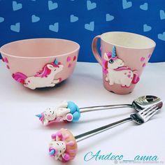 Polymer Clay Cupcake, Polymer Clay Ornaments, Polymer Clay Pendant, Fimo Clay, Polymer Clay Projects, Polymer Clay Creations, Polymer Clay Art, Cute Mug, Unicorn Cups