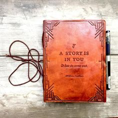 Leather journal, Handmade Leather Journals, William Faulkner Quote Journal