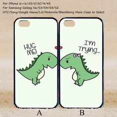 Cute Dinosaur Couple Case,Custom Case,iPhone 6+/6/5/5S/5C/4S/4,Samsung Galaxy S6/S5/S4/S3/S2