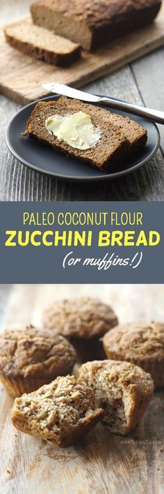 Paleo Coconut Flour Zucchini Bread. Naturally sweetened and gluten-free, this quick bread is moist and delicious!