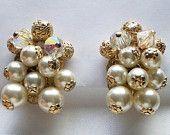 Vintage Faux Pearl Aurora Borealis Crystal Filigree Cluster Earrings