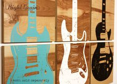 This Guitar Wall Art is customizable and would look great in your office, game room, bar, or studio. Perfect for music lovers! Custom made to fit your