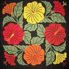 Four Hibiscuses, tivaivai manu, at Atiu Fibre Arts Studio, Cook Islands Hawaiian Quilt Patterns, Hawaiian Pattern, Hawaiian Quilts, Hawaiian Art, Hawaiian Theme, Polynesian Designs, Doodle Designs, Labor, Textiles
