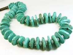 Bold, gorgeous, and chunky Tibetan blue #turquoise rondelle nugget #necklace. The source of this turquoise is Tibet, China.