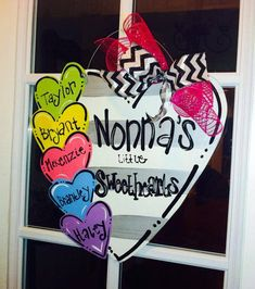 Valentines Sweethearts Wood Cut Out Door by TheWaywardWhimsy